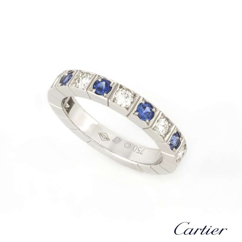 Cartier 18k White Gold Diamond and Sapphire Lanieres Ring